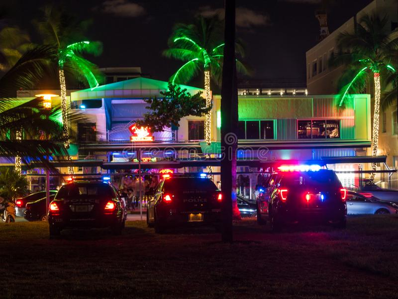 Miama, Florida, USa - August 2019. police car parks at the Ocean Drive along South Beach Miami in the historic Art Deco District stock photography