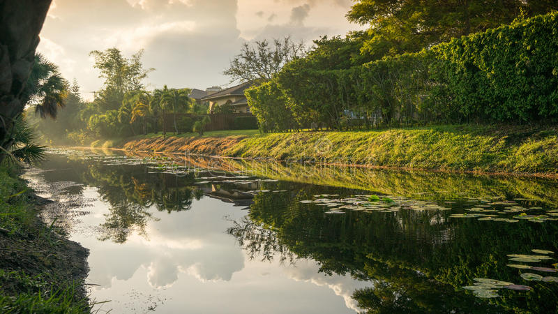 Miami湖日出 库存照片