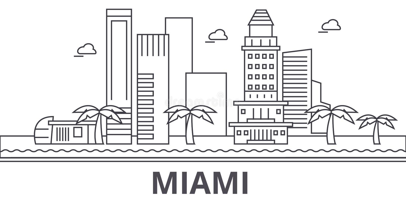 Miami architektury linii linii horyzontu ilustracja Liniowy wektorowy pejzaż miejski z sławnymi punktami zwrotnymi, miasto widoki royalty ilustracja