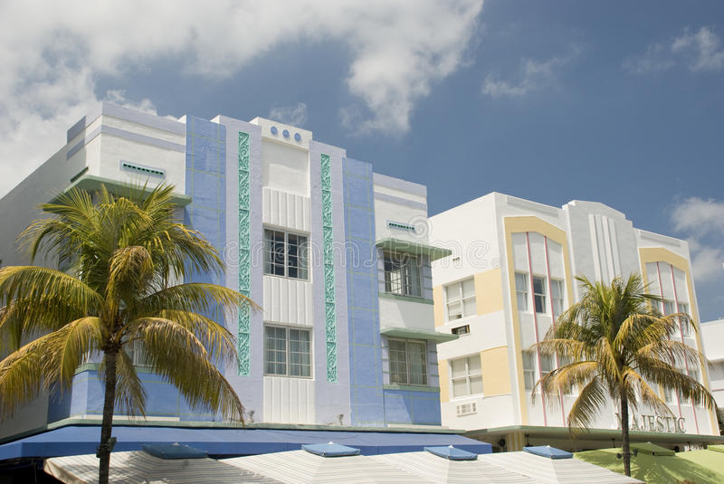 Miami art deco. Art deco hotels in south beach, miami florida stock photography