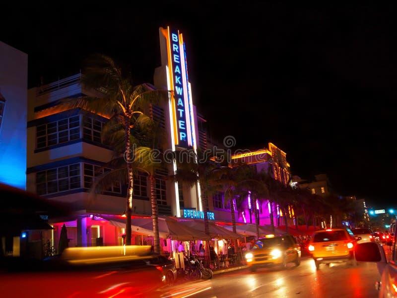 Miami Art Deco Breakwater royaltyfria bilder