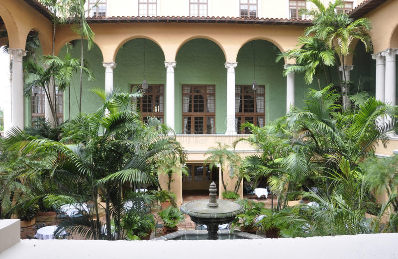 Miami,august 9th:Hotel Biltmore & Country Club courtyard from Coral Gables of Miami in Florida USA. Hotel Biltmore & Country Club courtyard from Coral Gables of stock photography