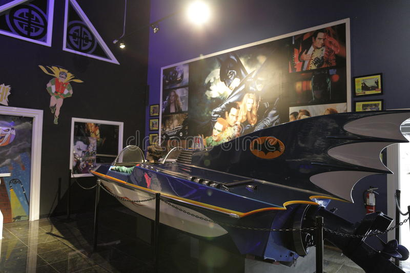 Miami Auto Museum Dezer Collection Batmobile room. MIAMI, FL,USA - MAY 10, 2017: Miami Auto Museum at the Dezer Collection of automobiles and related memorabilia stock photo