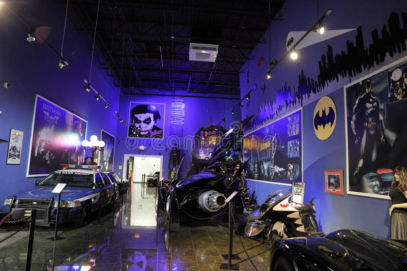 Miami Auto Museum Dezer Collection Batmobile room. MIAMI, FL,USA - MAY 10, 2017: Miami Auto Museum at the Dezer Collection of automobiles and related memorabilia royalty free stock image