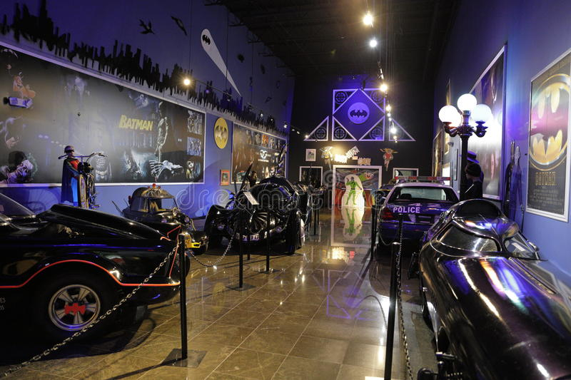 Miami Auto Museum Dezer Collection Batmobile room. MIAMI, FL,USA - MAY 10, 2017: Miami Auto Museum at the Dezer Collection of automobiles and related memorabilia royalty free stock photos