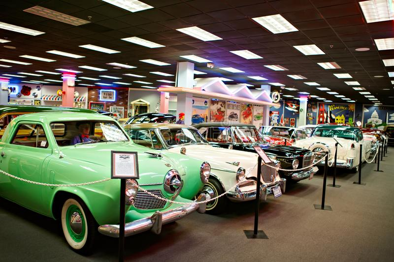 Miami Auto Museum exhibits a collection of vintage and cinema automobiles, bicycles and motorcycles. MIAMI, FLORIDA, USA - APRIL 11: Miami Auto Museum exhibits a stock photo