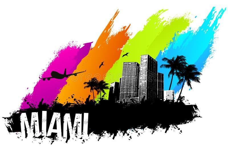 Miami baner royaltyfri illustrationer