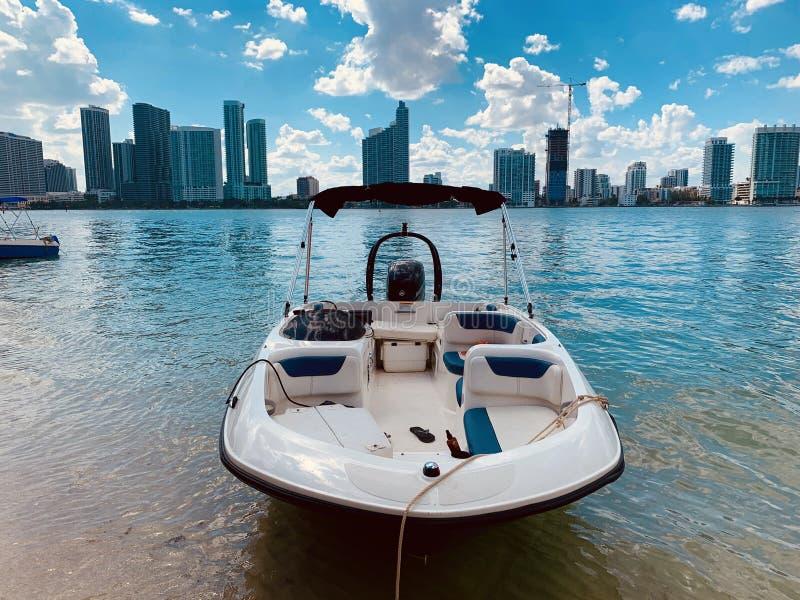 Miami Bay Boat. Luxuxy life style stock photo