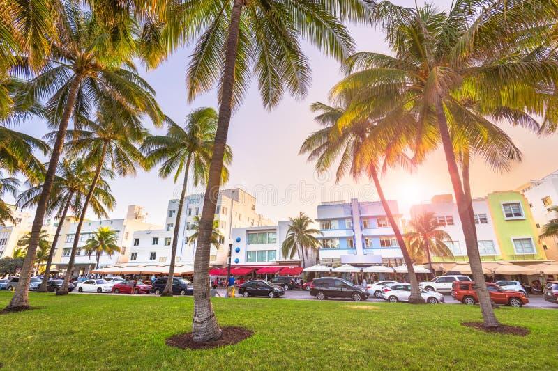 Miami Beach, Флорида, США на приводе океана стоковое фото