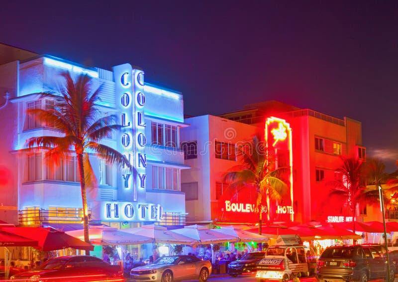 Miami Beach на ноче стоковые фотографии rf