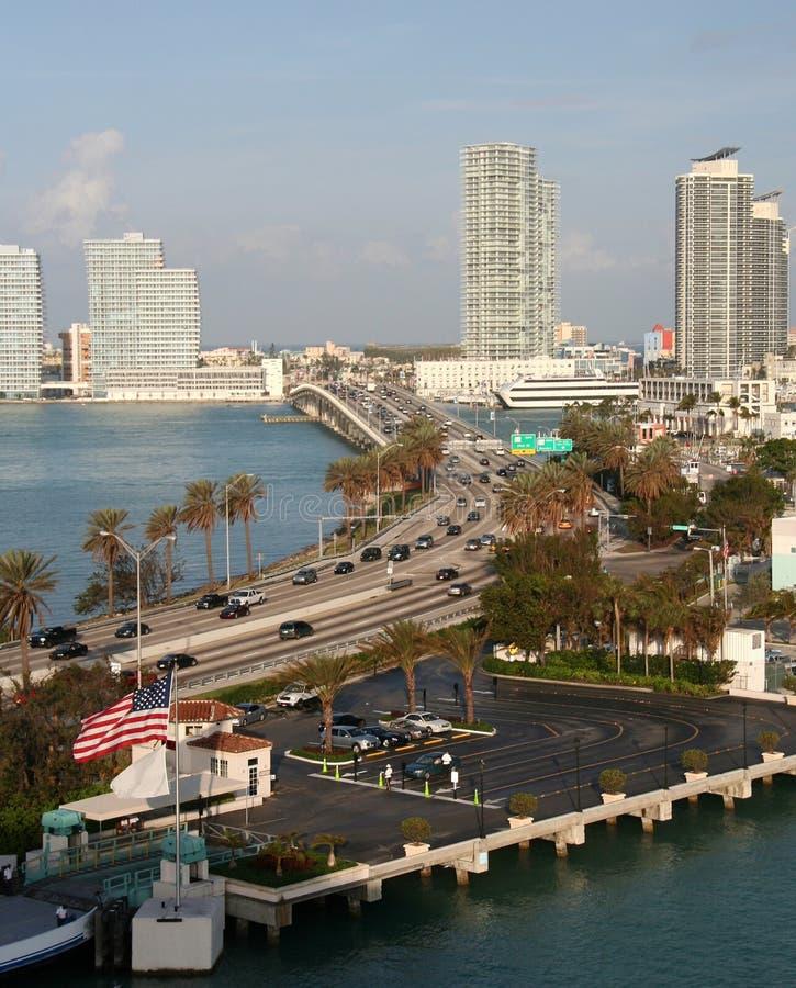 Miami Beach. Skyline an road in Miami Beach royalty free stock photo