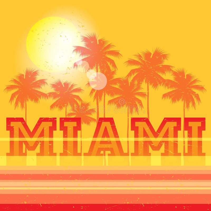 Miami Beach affisch för Florida kuststrand royaltyfri illustrationer