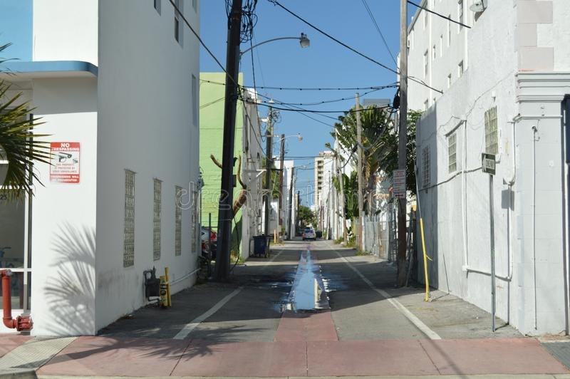 Miami Beach alley, USA royalty free stock photography