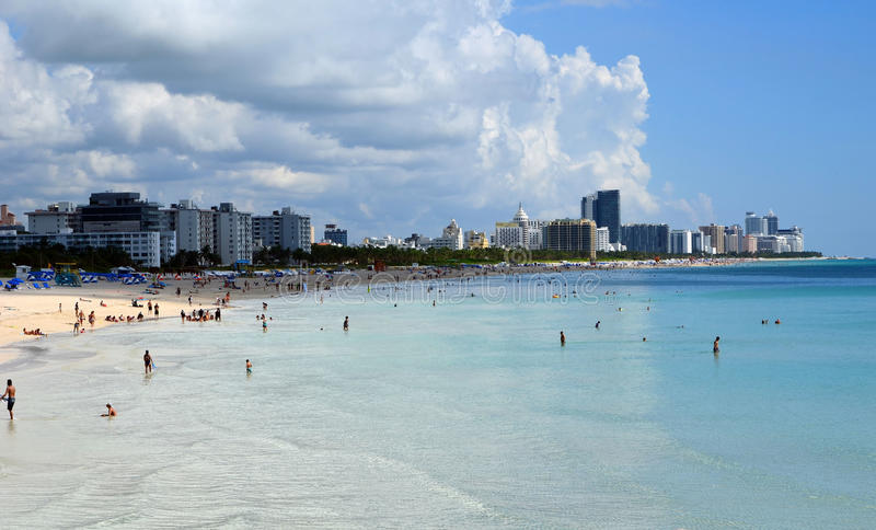 Miami Beach and Atlantic Ocean. View looking north from south pointe park of the Atlantic Ocean and hotels lining the beach line from south beach to mid beach stock photo