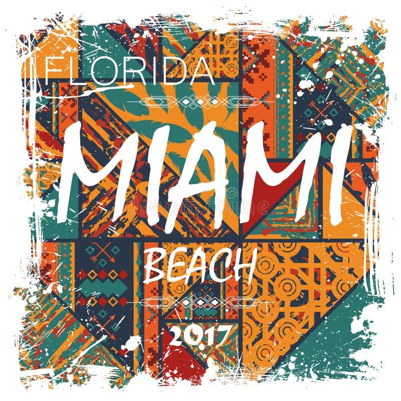 Miami Beach bakgrund stock illustrationer