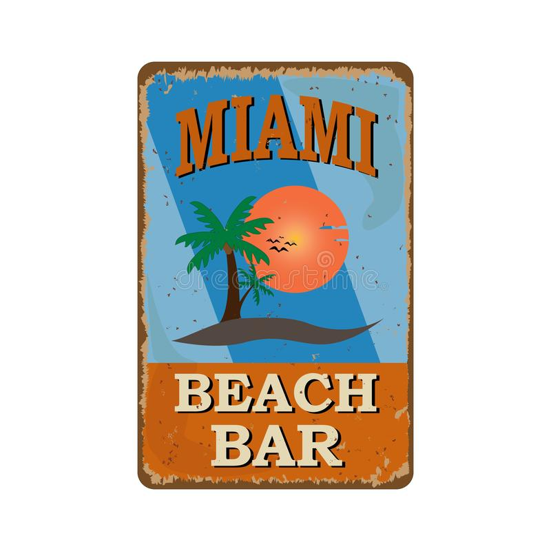 Miami beach bar vintage rusty metal sign on a white background, vector illustration royalty free illustration