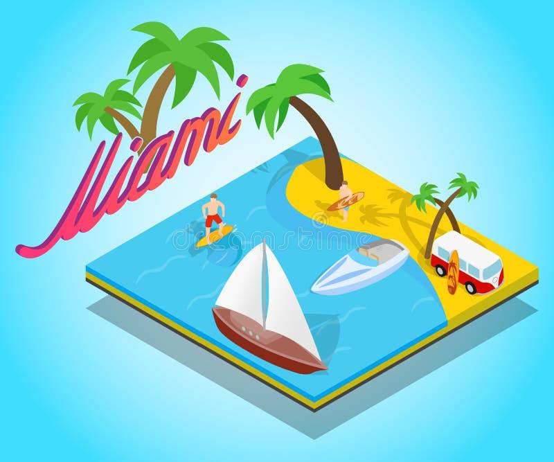 Miami Beach begreppsbaner, isometrisk stil stock illustrationer