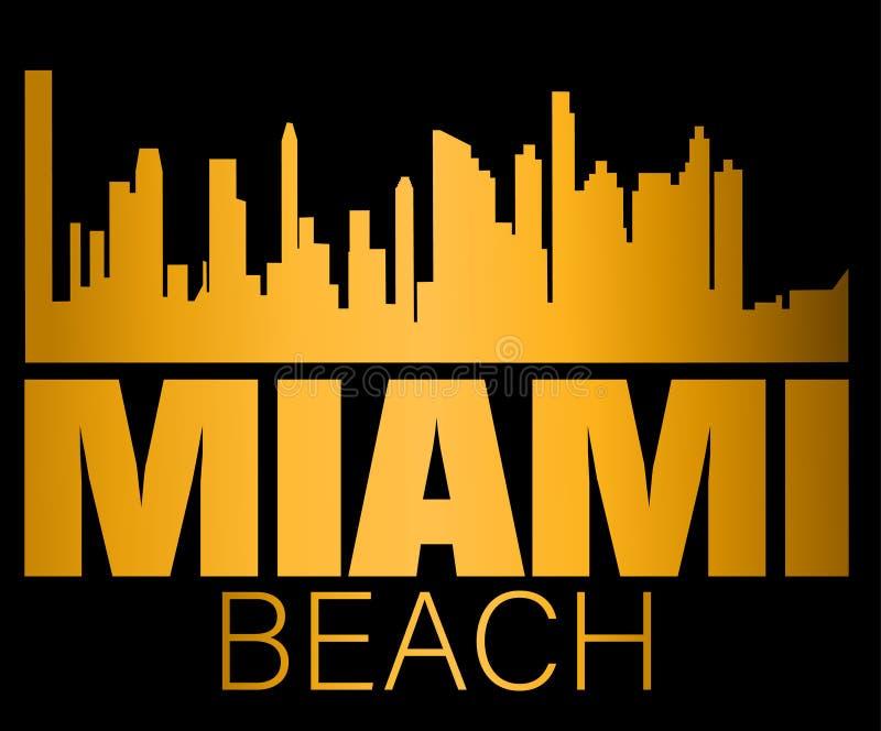 Miami Beach bokstäver och guld- konturbyggnader på svart backround Loppkort royaltyfri illustrationer