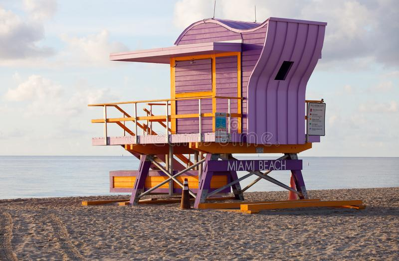 Miami beach colorful lifeguard rescue tower royalty free stock images