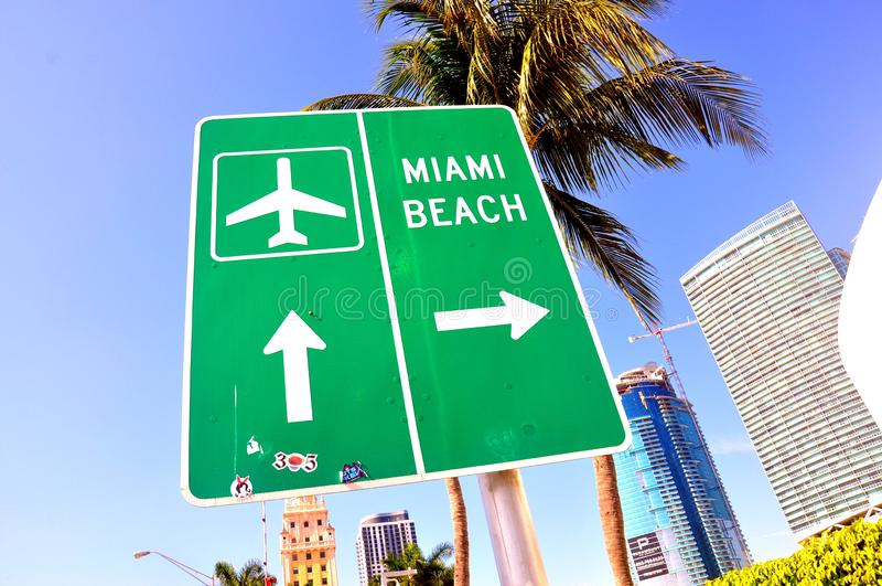 Miami Beach direction sign royalty free stock photos