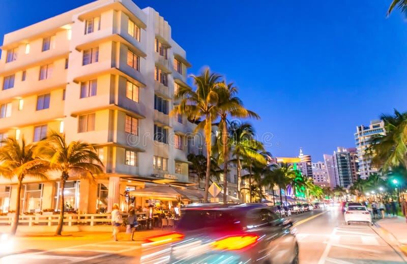 MIAMI BEACH - FEBRUARY 25, 2016: Miami Beach Ocean Drive at dusk royalty free stock photo