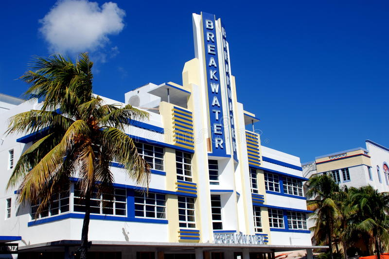 miami beach fl art deco breaktwater hotel editorial photography