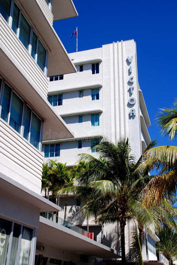 Miami Beach, FL: Art Deco Victor Hotel stock photos