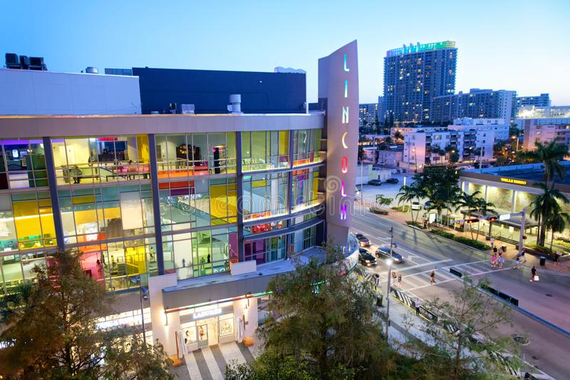MIAMI BEACH, FL - MARCH 30, 2018: Lincoln Road Mall and cityscape at sunset. Miami Beach is a famous tourist attraction royalty free stock photography