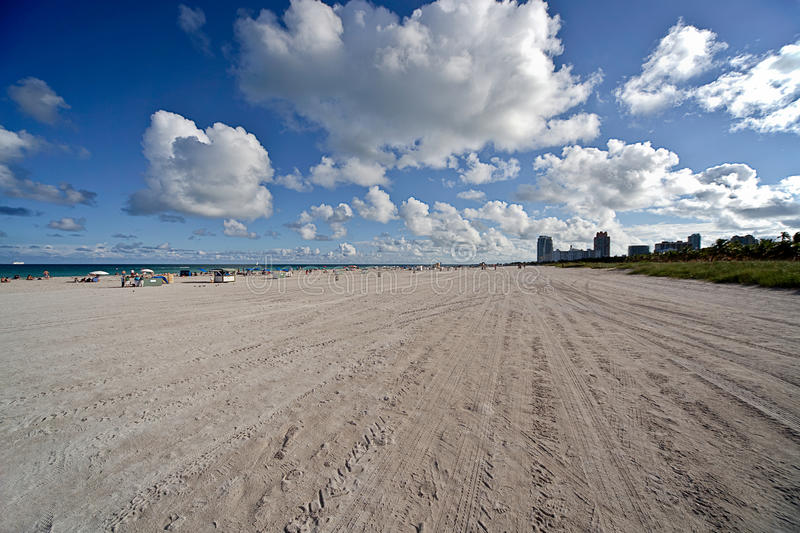 Miami Beach Florida. Overview of Miami Beach in Florida with blue sky and nice white clouds stock images