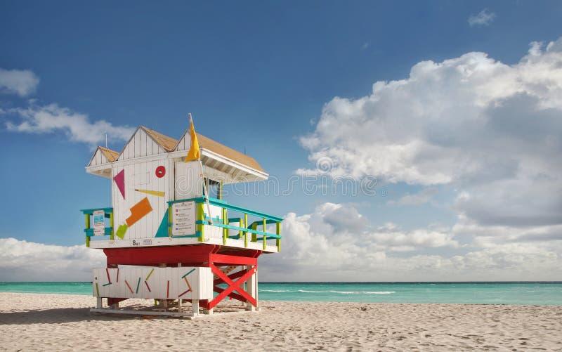 Miami Beach Florida, casa del bagnino fotografie stock libere da diritti