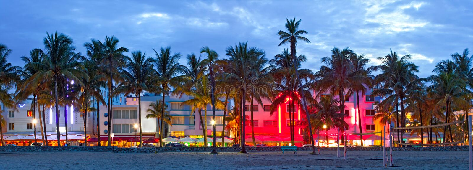 Miami Beach, Florida hotels and restaurants at sunset stock image