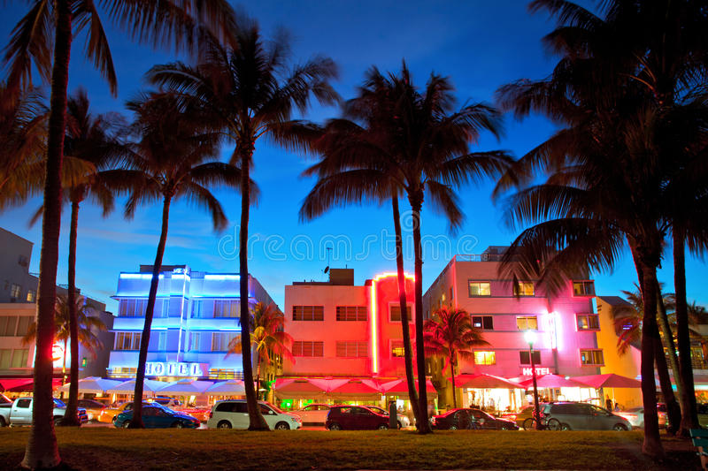 Miami Beach, Florida hotels and restaurants at sunset stock images