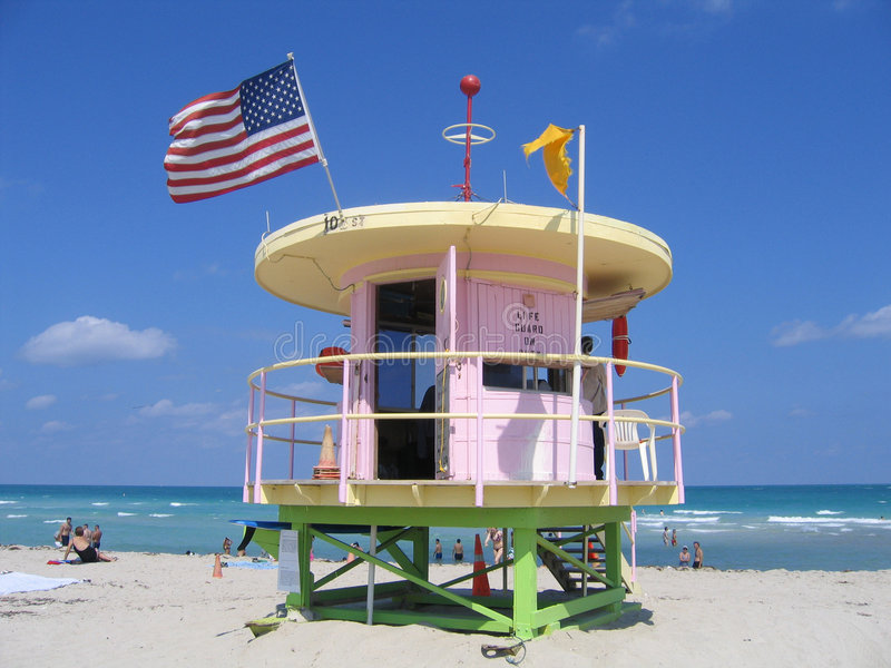 Miami Beach Florida Life Guard royalty free stock photo