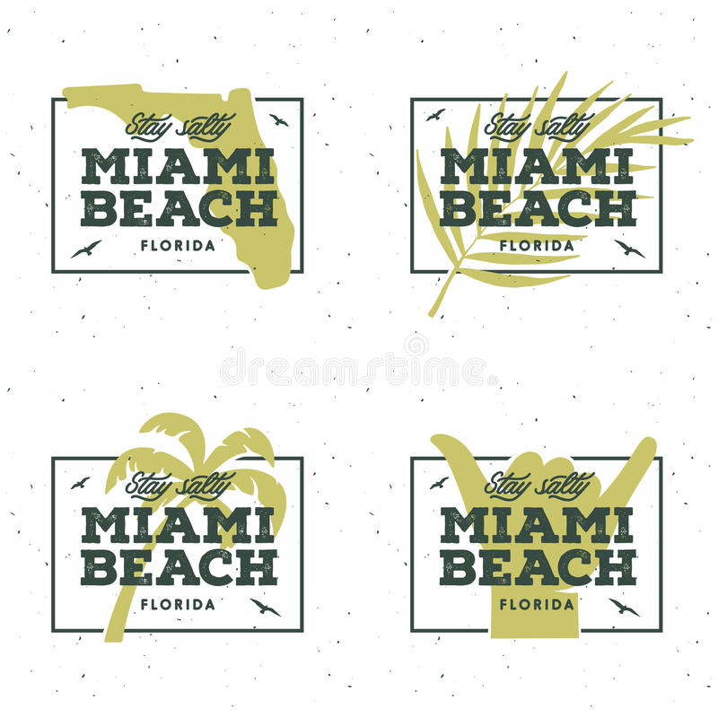 Miami beach florida t-shirt design. Vector vintage illustration. royalty free illustration