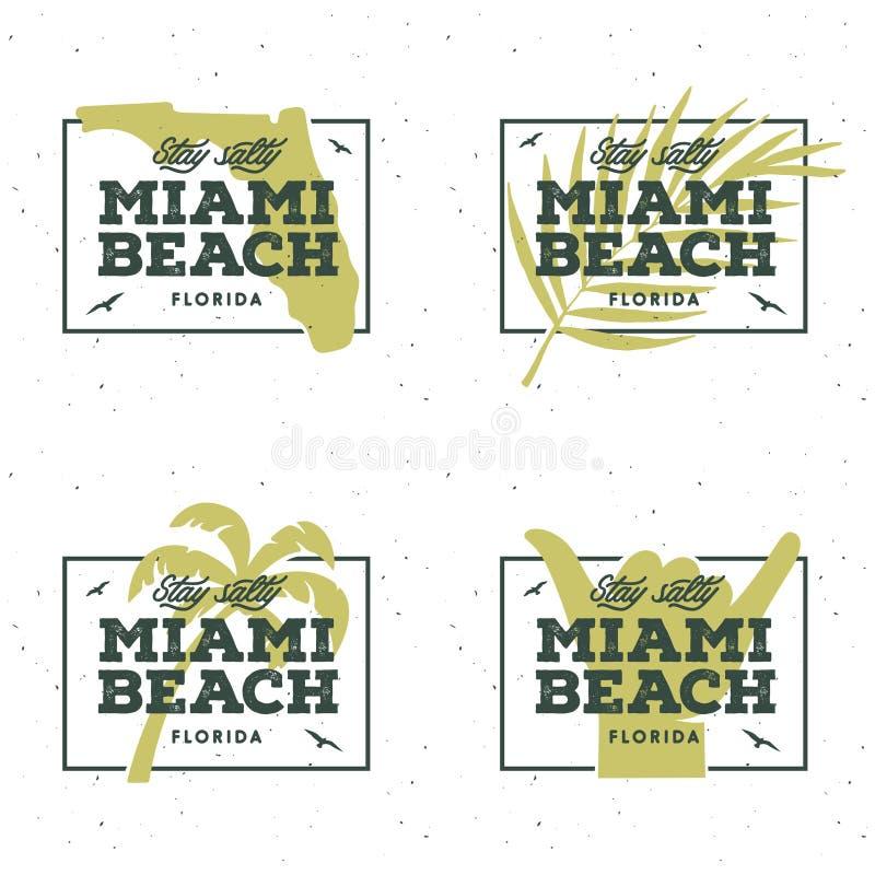 Miami Beach florida t-skjorta design Vektortappningillustration royaltyfri illustrationer