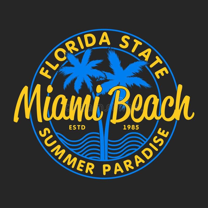 Miami Beach Florida tillstånd - typografi för designkläder, t-skjortor med palmträd och vågor Diagram för dräkt vektor stock illustrationer