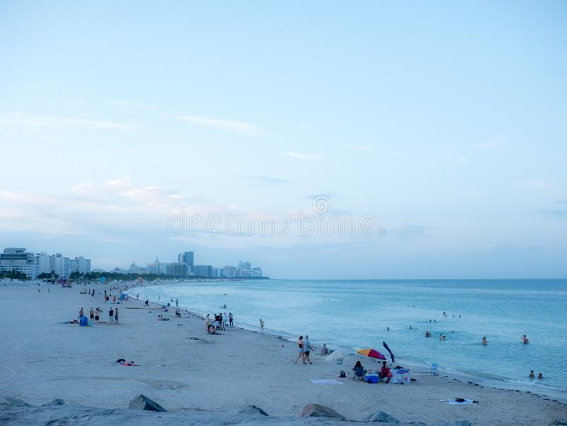 Miami beach, Florida, USA. August 2019. South Beach at sunset, neighborhood of Miami Beach in Florida. South Beach is famous for. Its tropical sea, the long stock photos