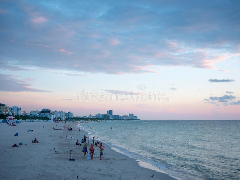 Miami beach, Florida, USA. August 2019. South Beach at sunset, neighborhood of Miami Beach in Florida. South Beach is famous for. Its tropical sea, the long royalty free stock photography