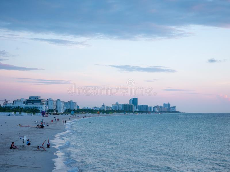 Miami beach, Florida, USA. August 2019. South Beach at sunset, neighborhood of Miami Beach in Florida. South Beach is famous for. Its tropical sea, the long stock photo