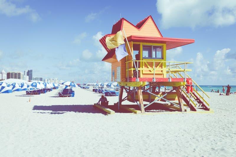 MIAMI BEACH, FLORIDA, USA - FEBRUARY 18, 2018: Lifeguard Tower i stock images