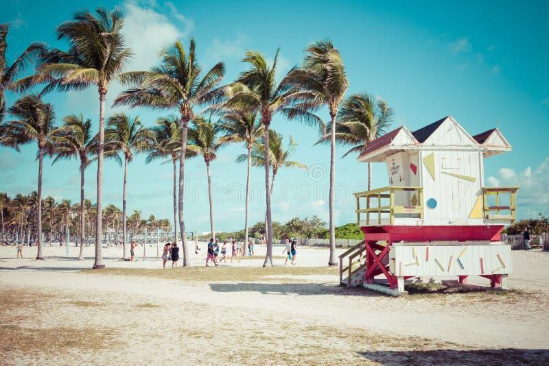 MIAMI BEACH, FLORIDA, USA - FEBRUARY 18, 2018: Lifeguard Tower i royalty free stock images