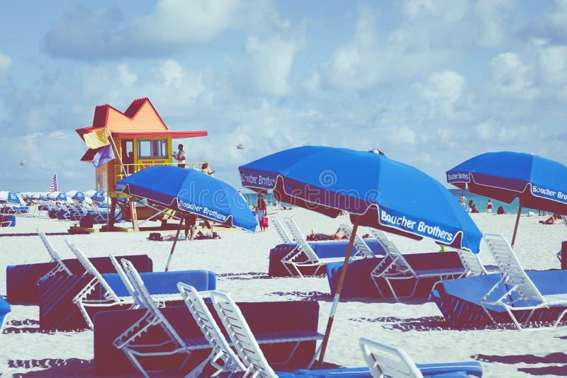 MIAMI BEACH, FLORIDA, USA - FEBRUARY 18, 2018: Lifeguard Tower i royalty free stock photography