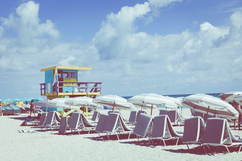 MIAMI BEACH, FLORIDA, USA - FEBRUARY 18, 2018: Lifeguard Tower i royalty free stock photos