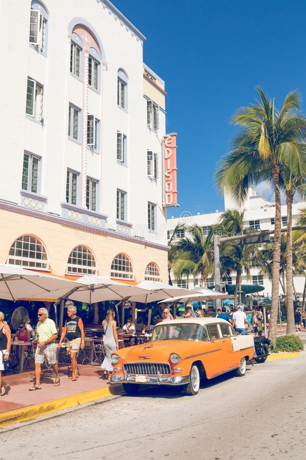 MIAMI BEACH, FLORIDA, USA - FEBRUARY 18, 2018: Vintage Car Parked along Ocean Drive in the Famous Art Deco District in South stock photography