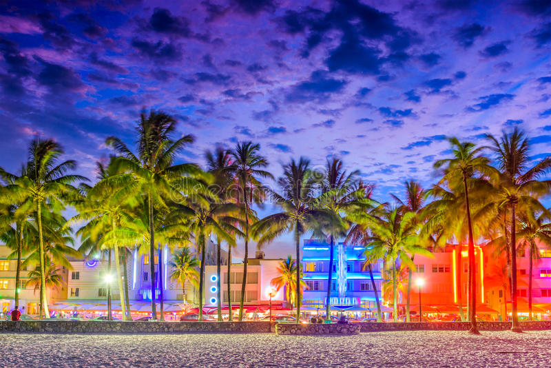 Miami Beach, Florida, USA. On Ocean Drive at sunset stock photos