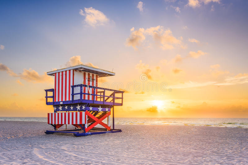 Miami Beach, Florida, USA. Sunrise and life guard tower stock photos