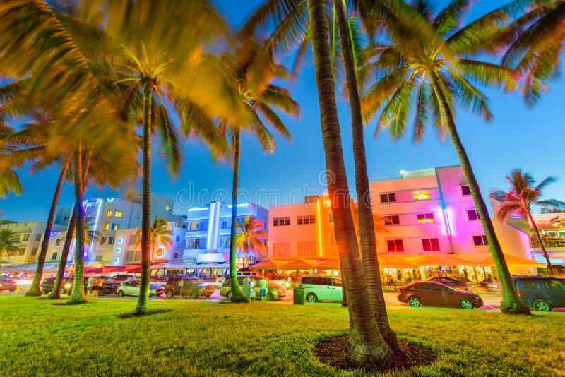 Miami Beach, Floride, USA Cityscape on Ocean Drive image stock