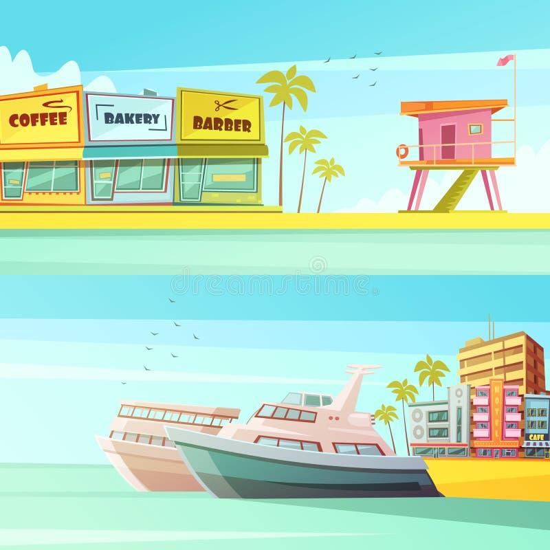 Miami Beach horisontalbaner stock illustrationer