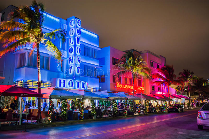 Miami Beach Hotels. Picture of historic Miami Beach deco hotels on Ocean Drive around 7th St. Christmas lights visible royalty free stock photos