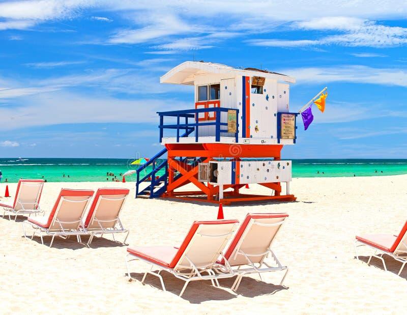 Miami Beach lugar tropical famoso do curso de Florida, EUA foto de stock